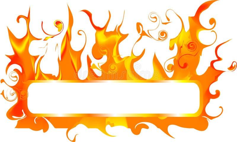 Bandeira com incêndio ilustração stock