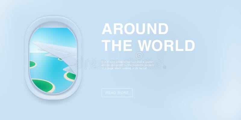 Bandeira com janela do avião ilustração lisa dos desenhos animados com lugar para o texto Vigia, vista na asa plana ilustração stock