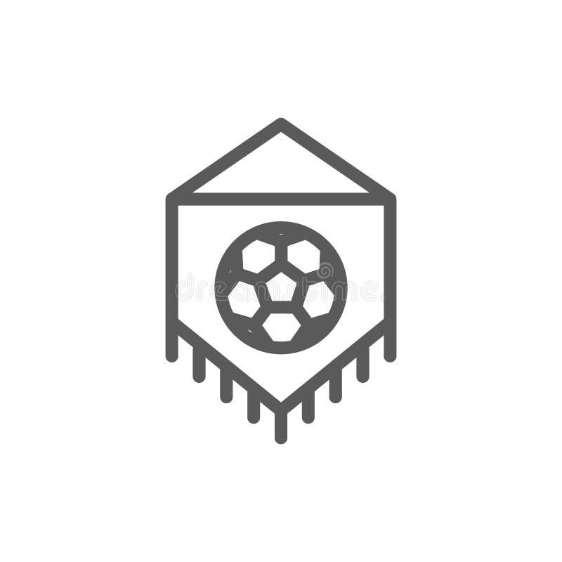 Bandeira com linha ícone da bola de futebol ilustração stock