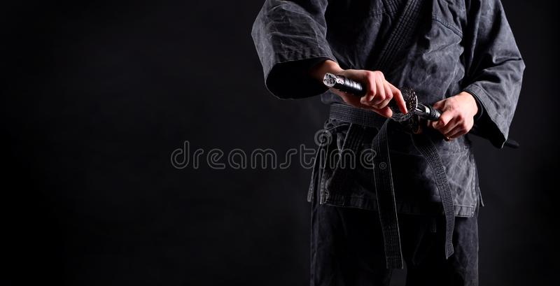 Bandeira com ninja, samurai foto de stock royalty free