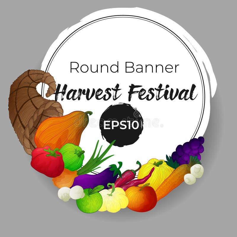 Bandeira com o chifre da abundância e os vegetais, os frutos e os cogumelos ilustração royalty free