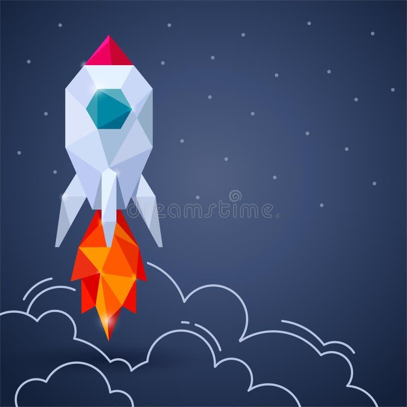 Bandeira com o foguete de espaço no fundo cinzento ilustração stock