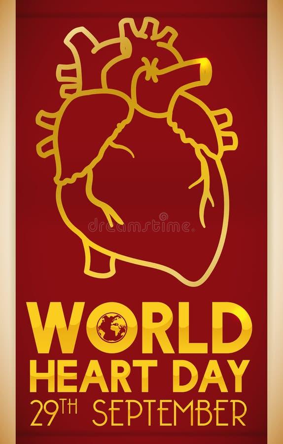 Bandeira com o projeto do coração para comemorar o dia do coração do mundo, ilustração do vetor ilustração do vetor