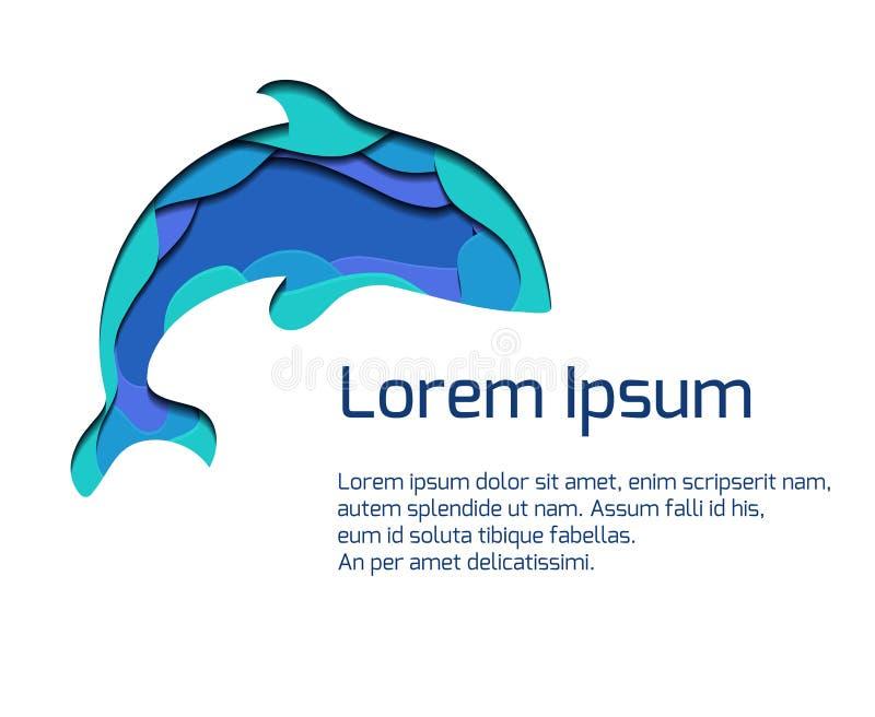 Bandeira com o ssilhouette da orca com o elemento 3d cortado do papel em cores azuis Baleia de assassino Molde do verão do vetor ilustração royalty free