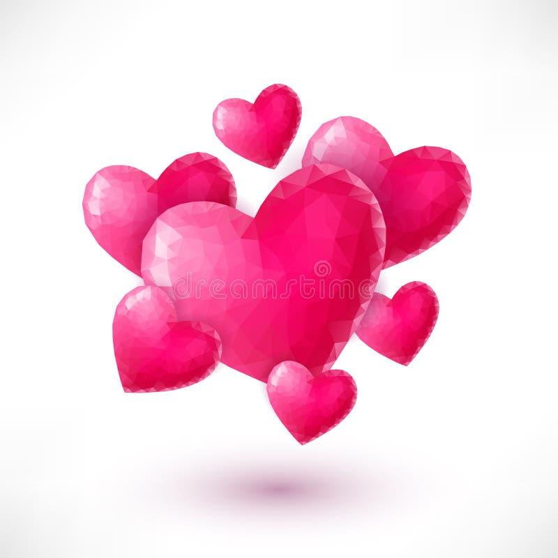 Bandeira com os corações cor-de-rosa do origâmi isolados ilustração royalty free