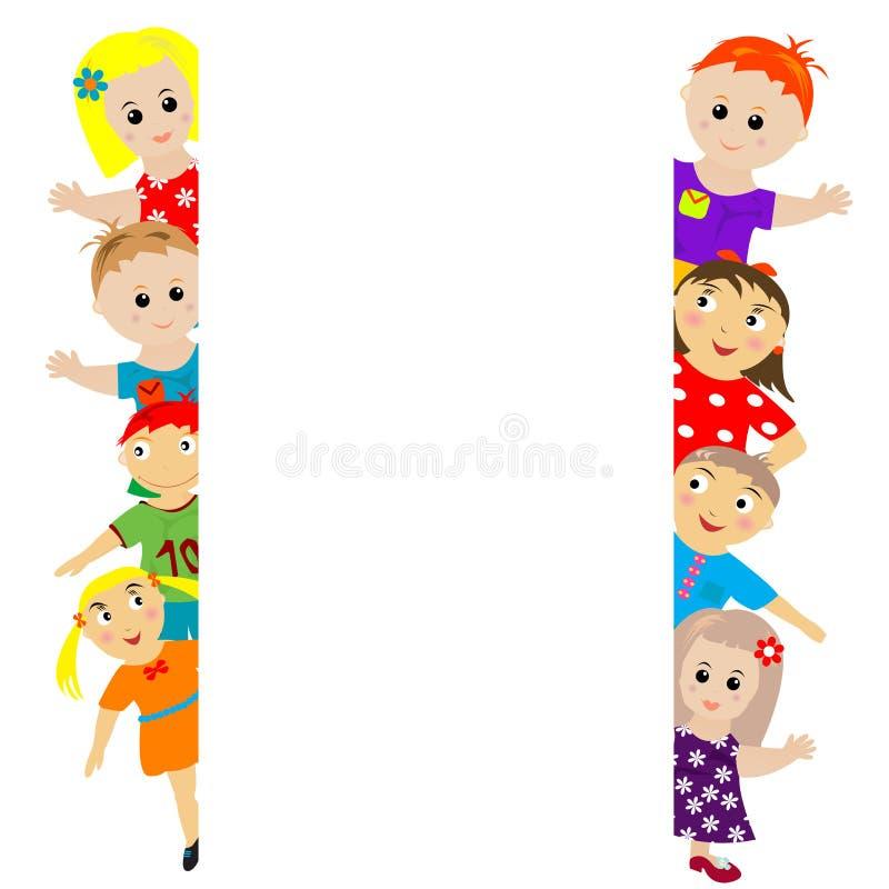 Bandeira com miúdos estilizados ao redor ilustração do vetor