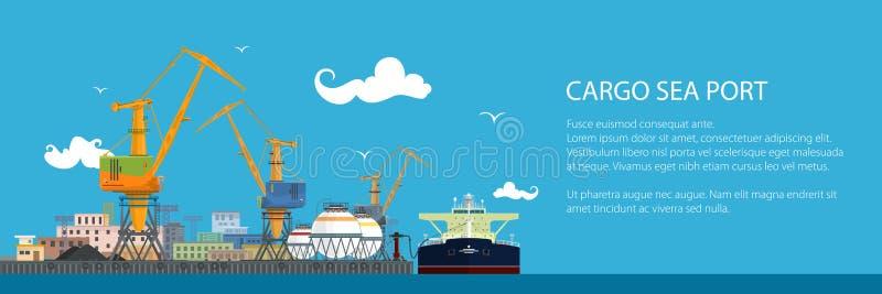 Bandeira com petroleiro em um porto da carga ilustração do vetor