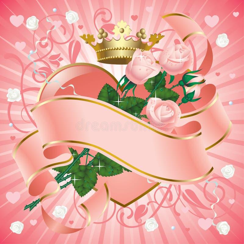 Bandeira com rosas ilustração stock