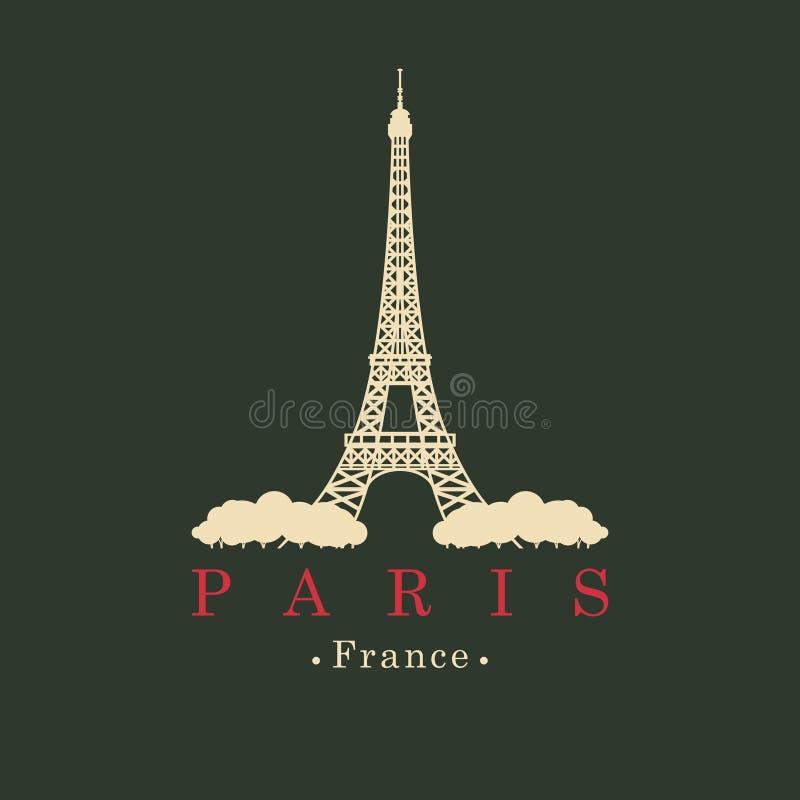 Bandeira com a torre Eiffel em Paris, França ilustração do vetor