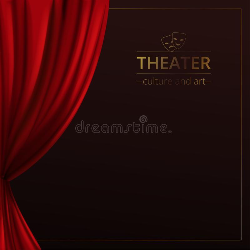 Bandeira com uma fase e cortinas vermelhas teatrais em um fundo escuro com um quadro dourado e no logotipo do teatro ilustração royalty free