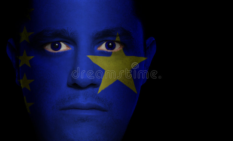 Bandeira congolesa - face masculina fotografia de stock
