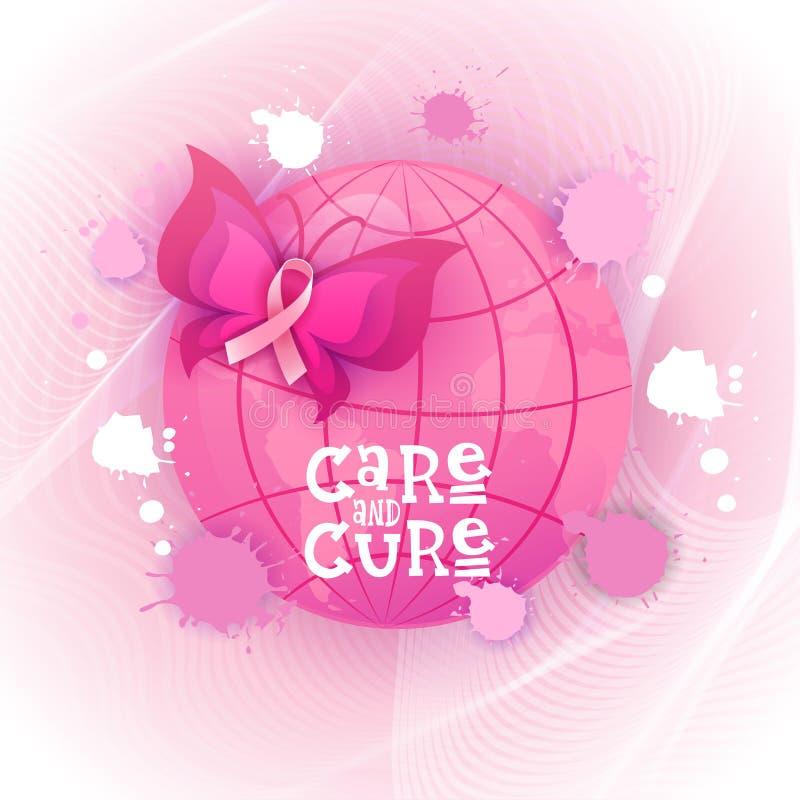 Bandeira cor-de-rosa da conscientização do câncer da mama da borboleta da fita ilustração royalty free