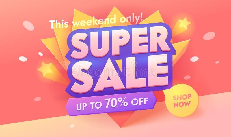 Bandeira cor-de-rosa super da oferta 3d da venda Projeto do cartaz do desconto da promoção Anunciando o crachá da tipografia da c ilustração royalty free