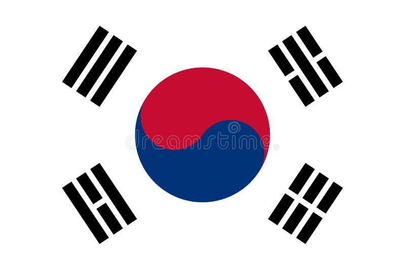 Bandeira coreana sul, disposição lisa, ilustração ilustração stock