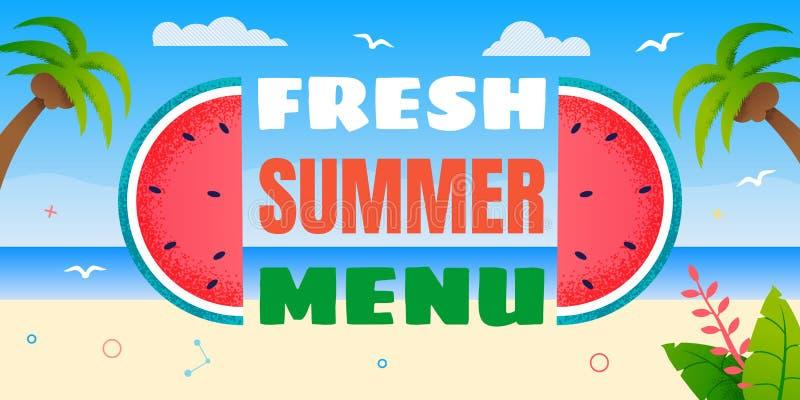 Bandeira criativa da propaganda do menu no estilo dos desenhos animados ilustração royalty free