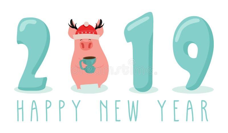 Bandeira criativa por 2019 anos novo com porco bonito Conceito, molde vertical do vetor Símbolo do ano no chinês