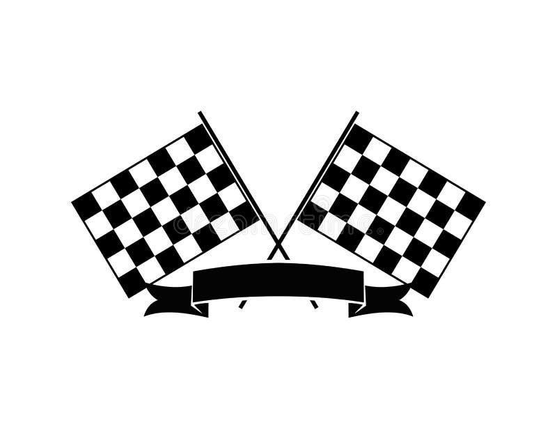 bandeira cruzada com projeto temático de competência do vetor da ilustração da velocidade da bandeira da fita ilustração do vetor