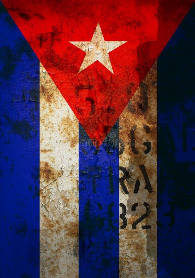 Bandeira cubana afligida fotografia de stock royalty free