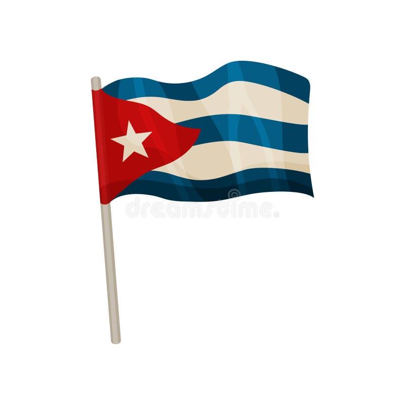 Bandeira cubana deixando de funcionar Ilustra??o do vetor no fundo branco ilustração royalty free