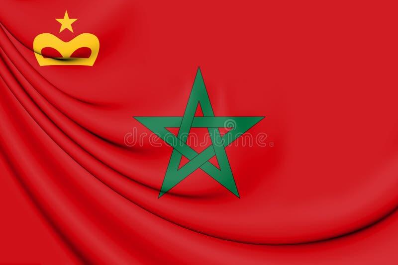 bandeira 3D civil do Marrocos ilustração royalty free