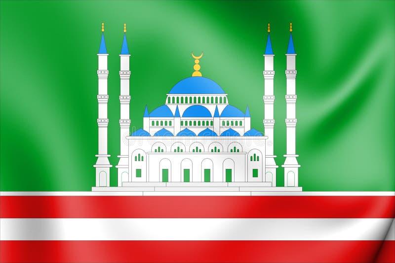 bandeira 3D da república chechena de Grozny, Rússia ilustração do vetor