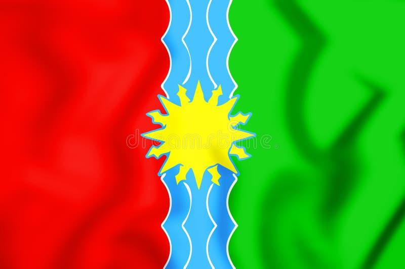 bandeira 3D de Bratsk & de x28; Irkutsk Oblast& x29; , Rússia ilustração royalty free