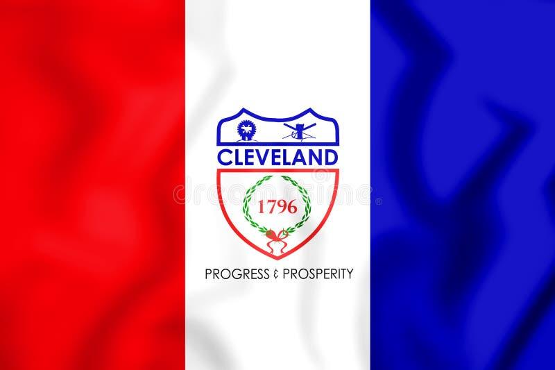 bandeira 3D de Cleveland Ohio, EUA ilustração royalty free