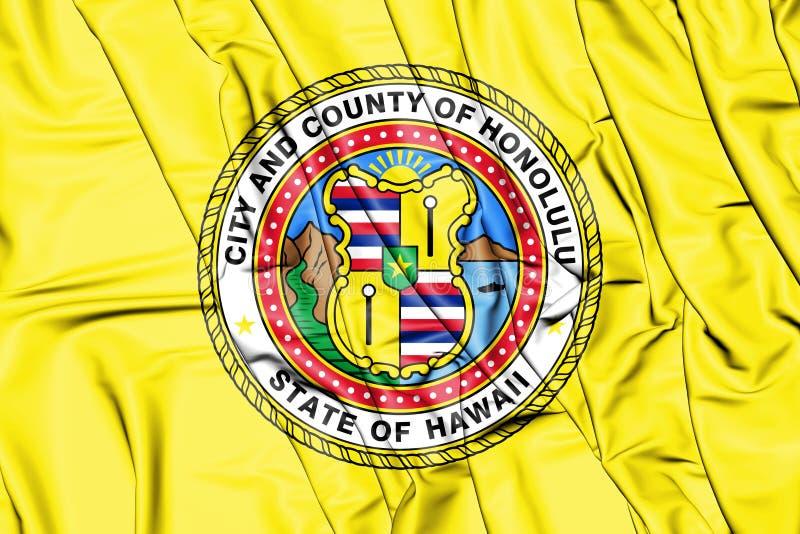 bandeira 3D de Honolulu Havaí, EUA ilustração do vetor