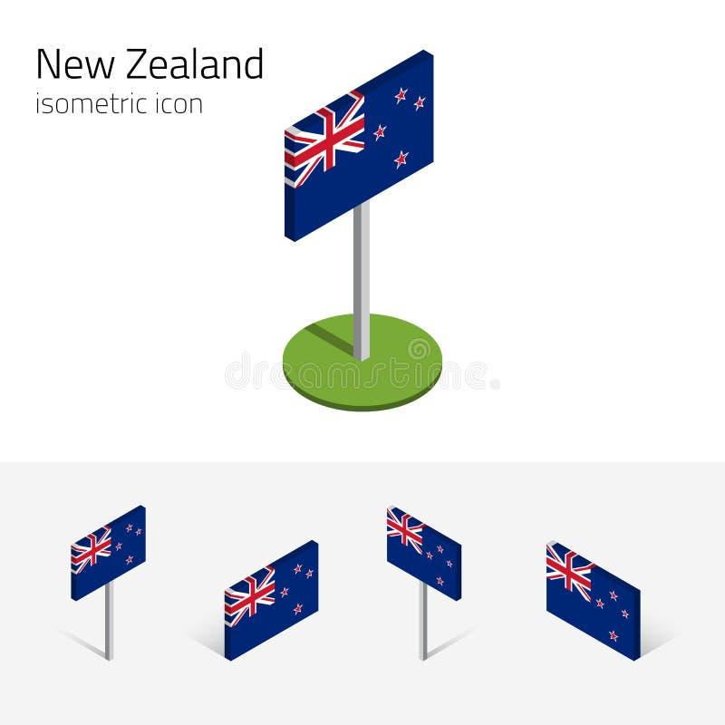 a bandeira 3D de Nova Zelândia, vector ícones isométricos ilustração royalty free