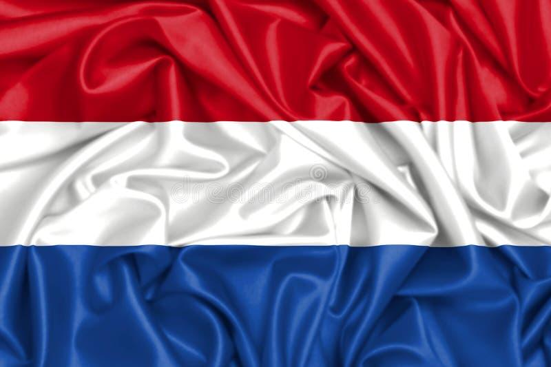 bandeira 3d de Países Baixos no vento ilustração do vetor
