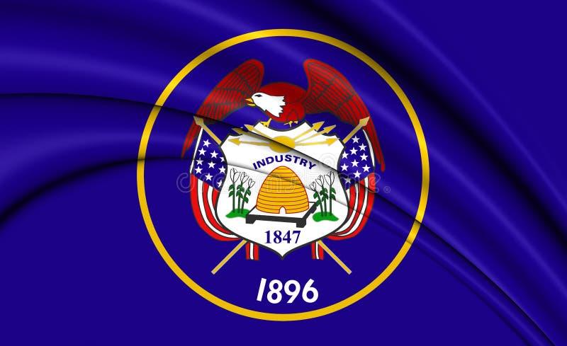 bandeira 3D de Utá, EUA ilustração stock