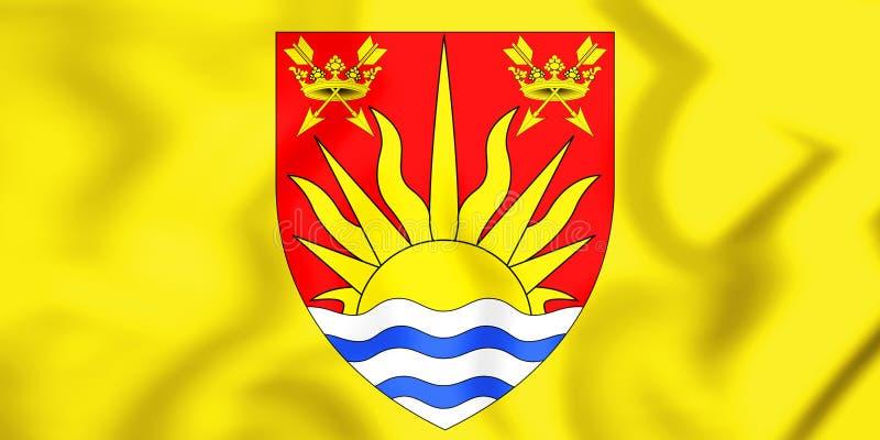 bandeira 3D do Condado de Suffolk, Inglaterra ilustração do vetor