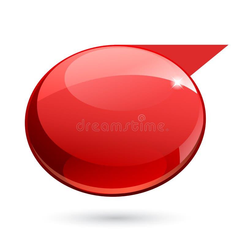 Bandeira 3d vermelha do brilho brilhante ilustração royalty free