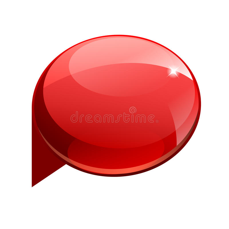 Bandeira 3d vermelha do brilho brilhante ilustração stock
