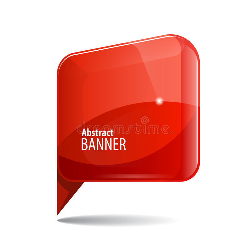 Bandeira 3d vermelha do brilho brilhante ilustração do vetor