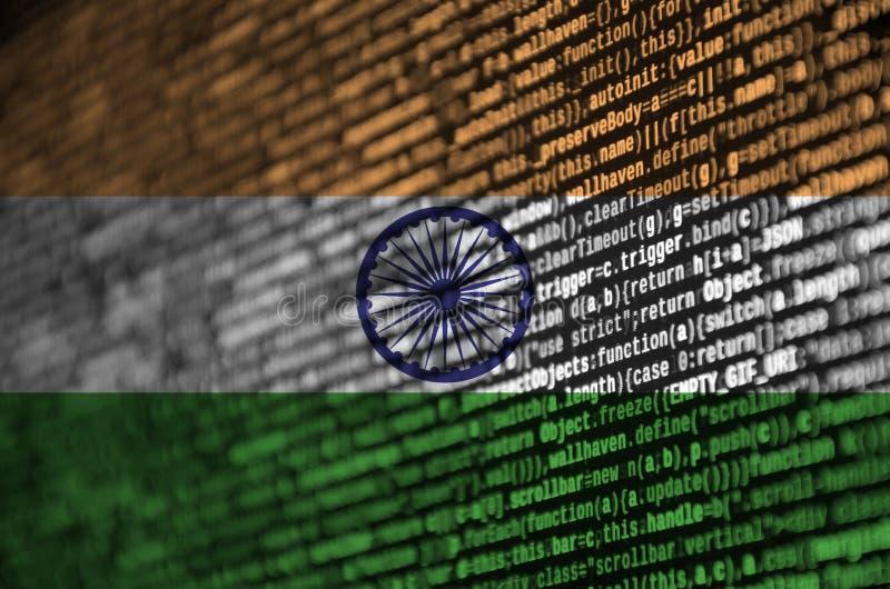 A bandeira da Índia é descrita na tela com o código do programa O conceito do desenvolvimento moderno da tecnologia e de local ilustração do vetor