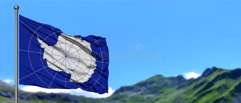 Bandeira da Antártica que acena no céu azul com campos verdes no fundo do pico de montanha Tema da natureza fotografia de stock