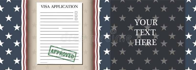 Bandeira da aplicação de visto ilustração royalty free