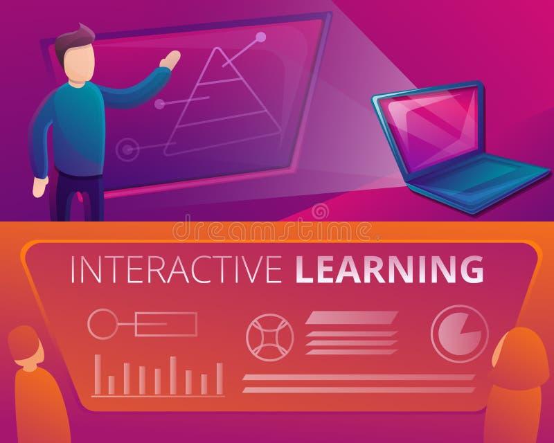 A bandeira da aprendizagem interativa ajustou-se, estilo dos desenhos animados ilustração royalty free