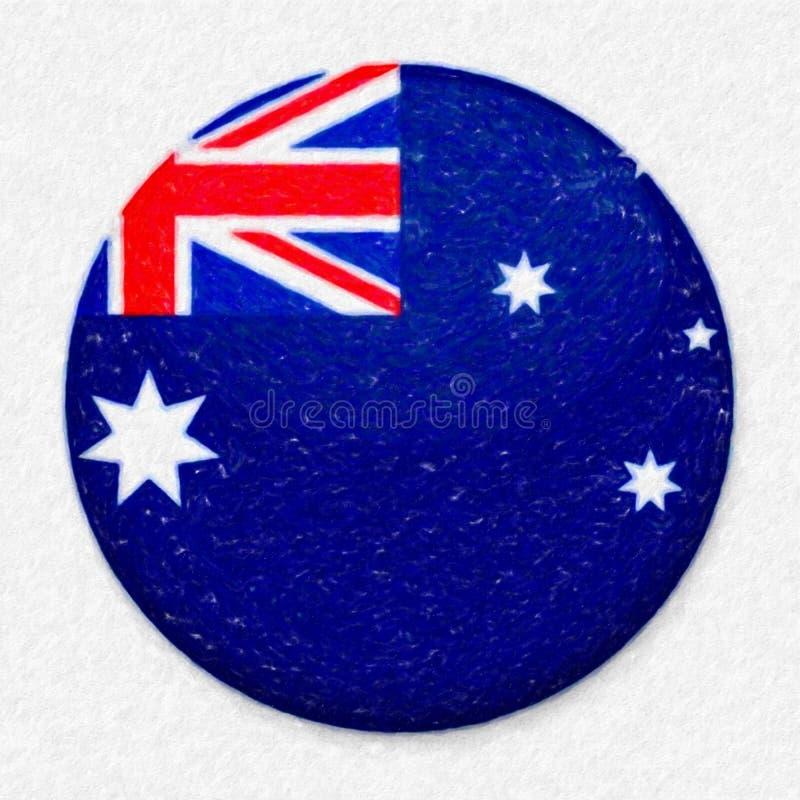Bandeira da aquarela de Austrália sob a forma de um botão redondo fotografia de stock royalty free