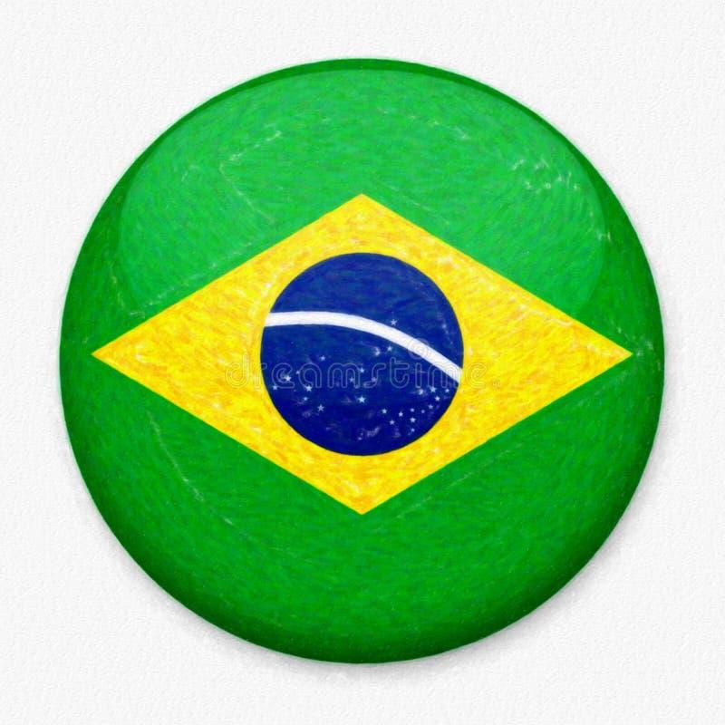Bandeira da aquarela de Brasil sob a forma de um botão redondo fotografia de stock royalty free