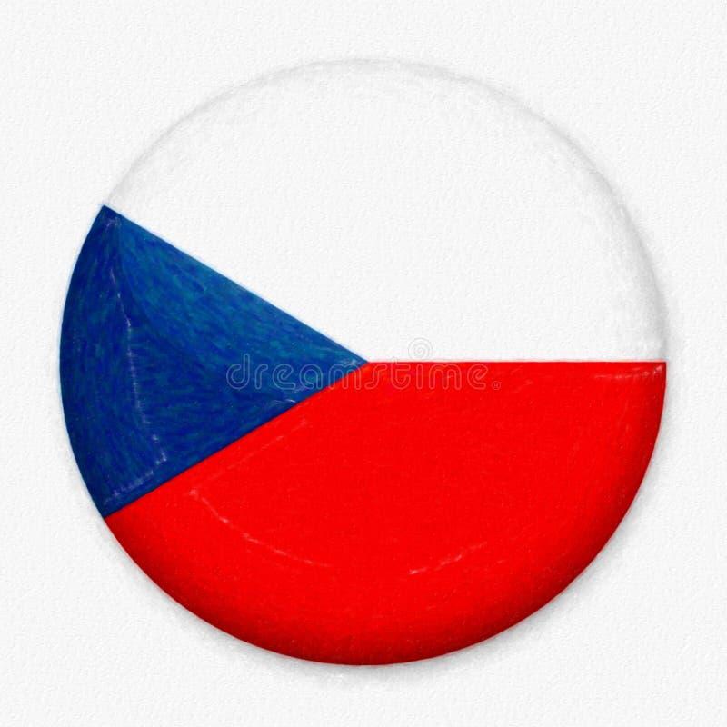 Bandeira da aquarela de Checo sob a forma de um botão redondo imagens de stock royalty free