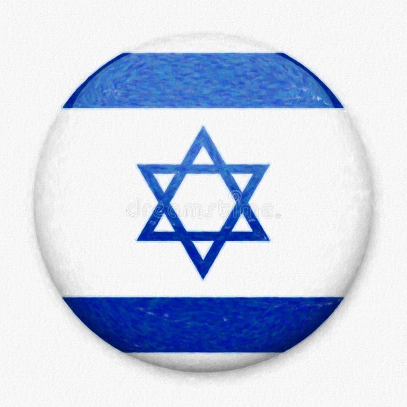 Bandeira da aquarela de Israel sob a forma de um botão redondo ilustração royalty free
