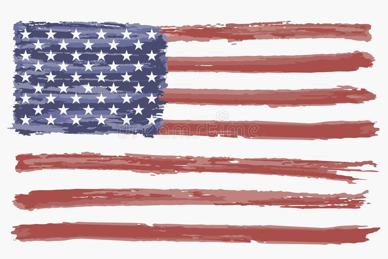 Bandeira da aquarela dos EUA Bandeira americana do grunge, fundo Vetor ilustração do vetor