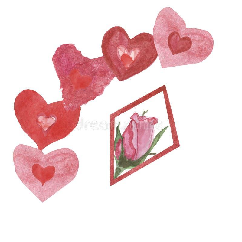 Bandeira da aquarela, rosa bonita e corações vermelhos isolados no wground Pintado à mão para o dia de Valentim feliz Felicitaçõe ilustração royalty free