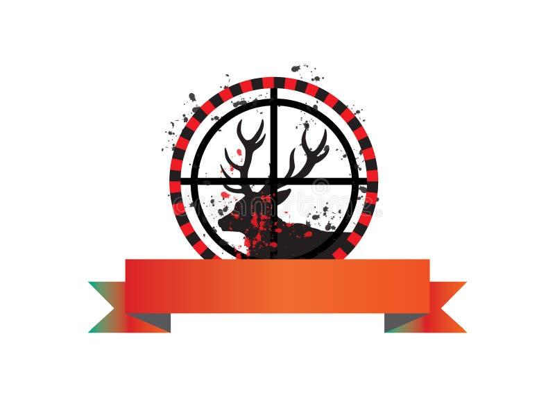 Bandeira da caça dos cervos - vetor ilustração stock