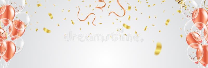 A bandeira da celebração com confetes vermelhos do ouro e os balões Vector o IL ilustração do vetor