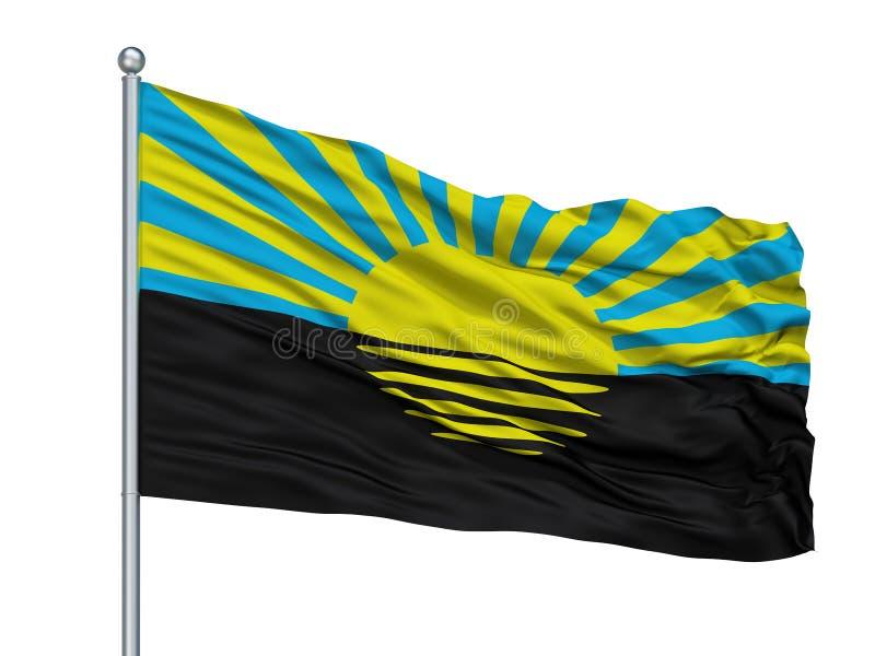 Bandeira da cidade de Alex K Chernihiv Prapor no mastro de bandeira, Ucrânia, isolada no fundo branco ilustração stock