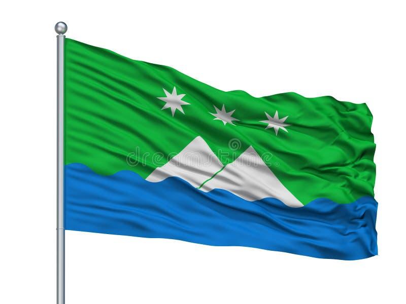 Bandeira da cidade de Argun no mastro de bandeira, Rússia, Chechnya, isolado no fundo branco ilustração do vetor
