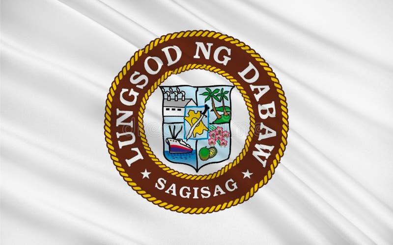Bandeira da cidade de Davao, Filipinas ilustração stock